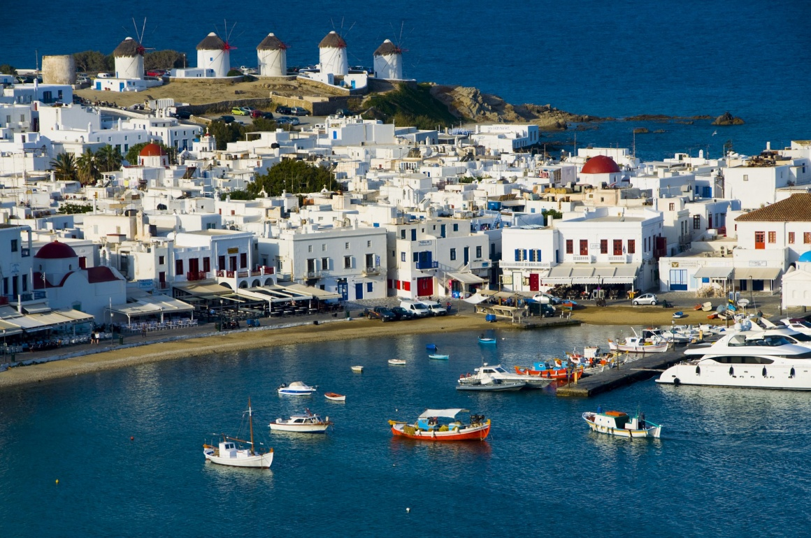 'Chora port with Windmills in the background, Mykonos, Cyclades, Greece' - Mykonos